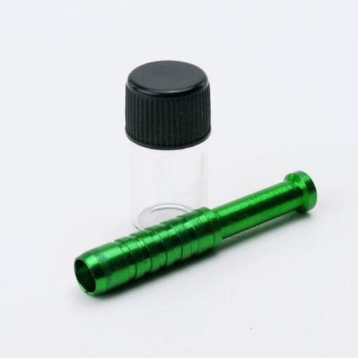Aluminum Straw + Glass Jar Green