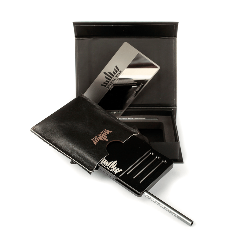 Royal Plastic Black Collectable Box Snuff Dispenser Container Straw Kit Set