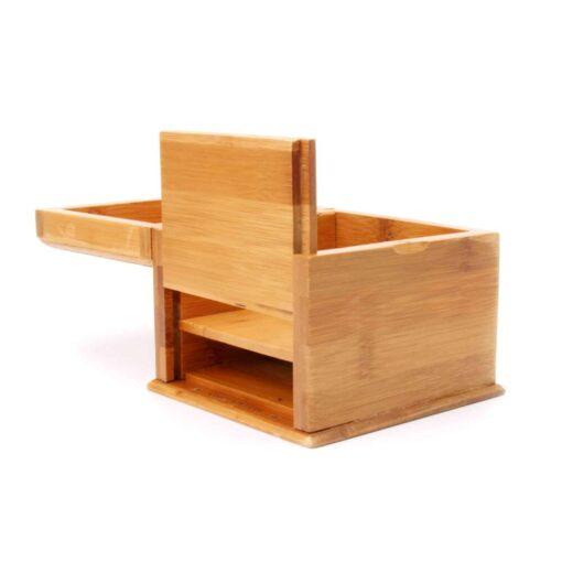 Secret Pocket Bamboo Box Double Bottom Open