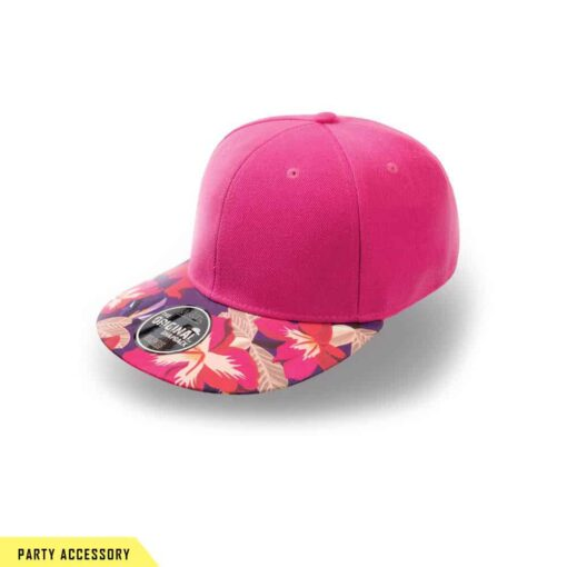 Wide Snap Back Pink Flower Cap